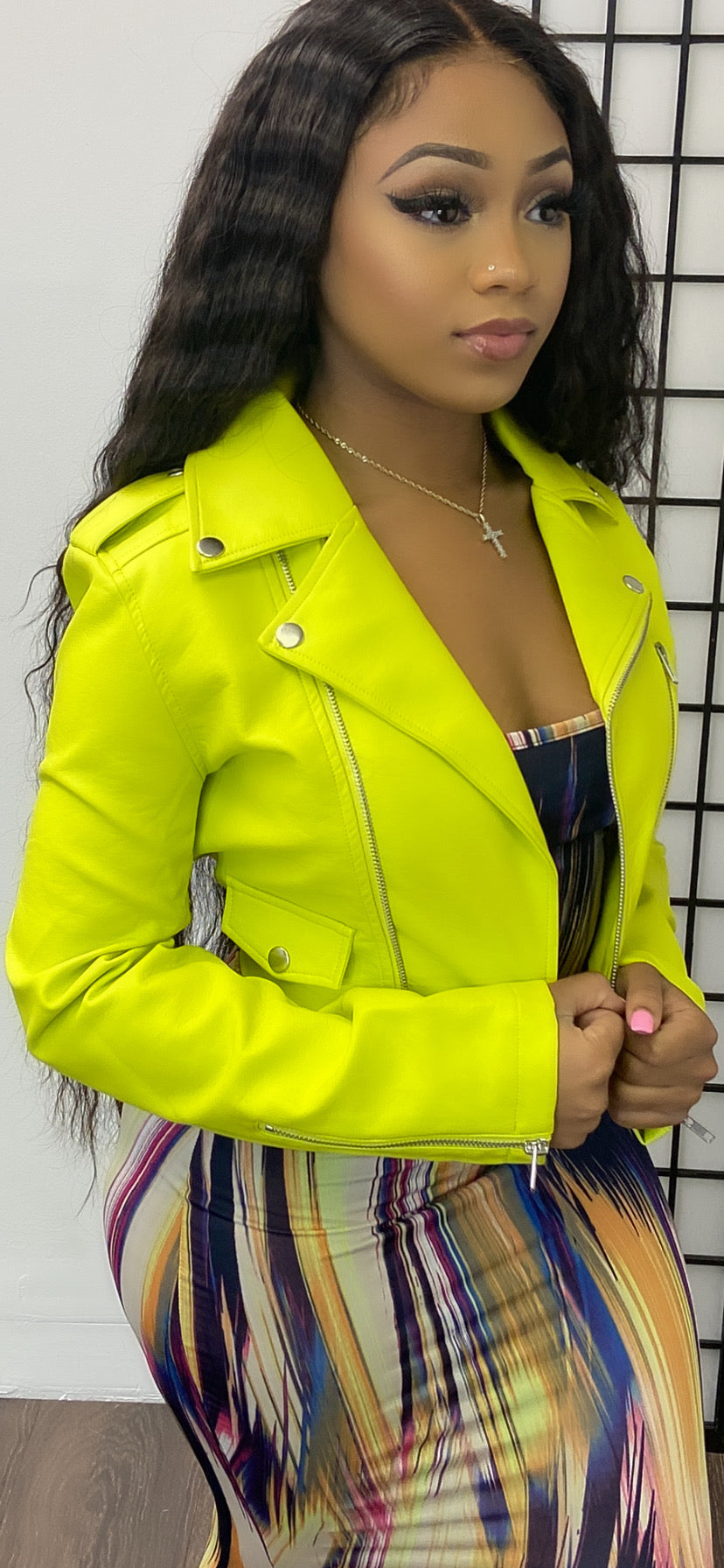 LIME AWAY MOTTO CROP JACKET - Spice Boutique