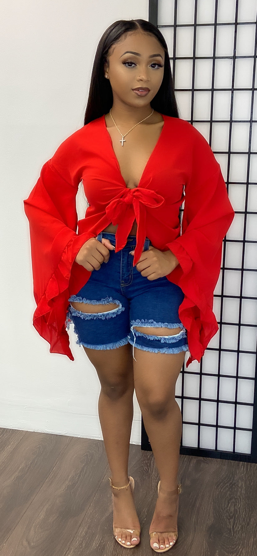 ANGELIC FLARE BLOUSE-RED - Spice Boutique