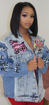 SAY IT LOUD GRAFFITI OVERSIZED DENIM JACKET - Spice Boutique