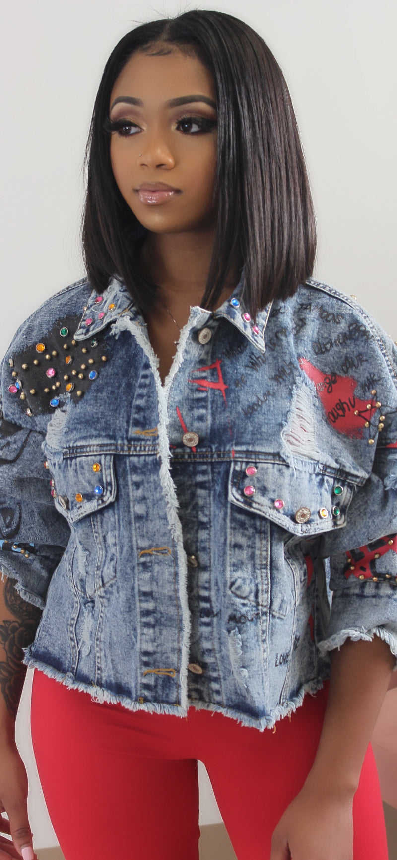 PHONE HOME GRAPHIC OVERSIZED DENIM JACKET - Spice Boutique