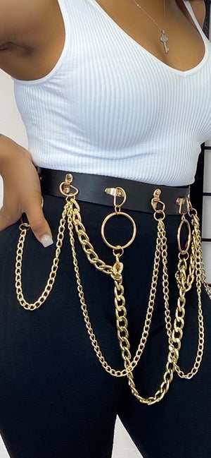 LONDON BLACK FAUX LEATHER CHAIN BELT - Spice Boutique