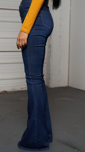 MARY SUPER STRETCH HIGH WAIST BELL BOTTOM JEANS - Spice Boutique