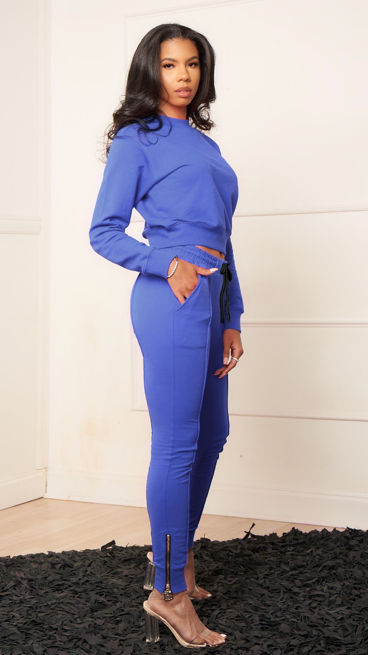 KATE BLUE LINED JOGGER SET