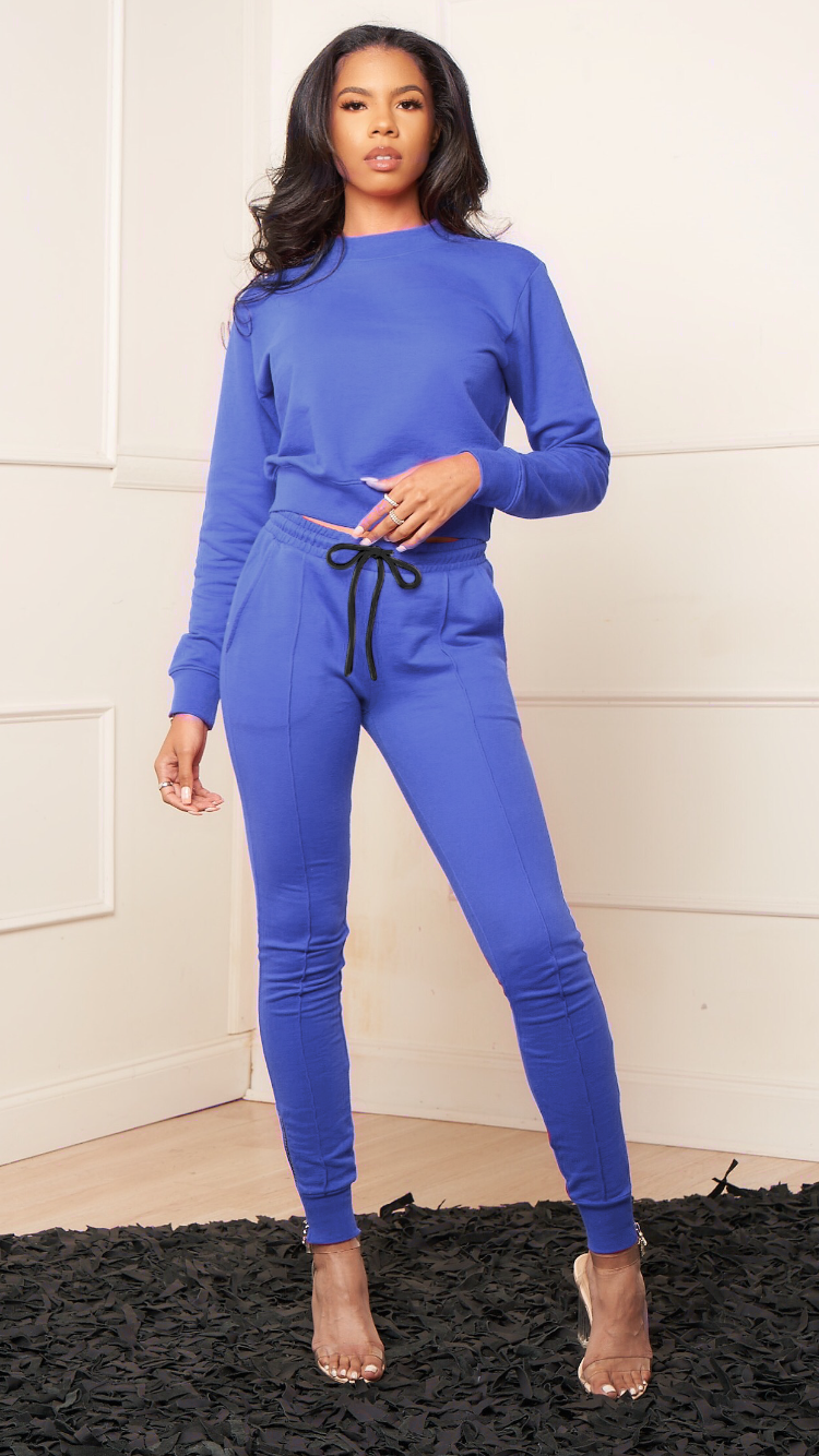 KATE BLUE LINED JOGGER SET - Spice Boutique