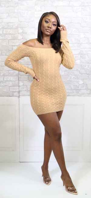 HALF ON IT SWEATER DRESS - Spice Boutique