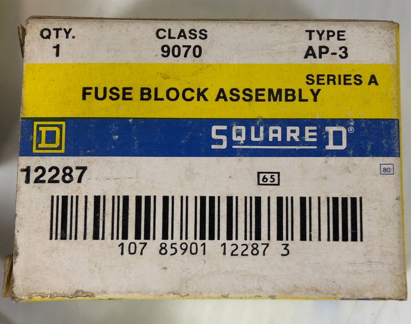 Square D Fuse Block Assembly Class 9070 Type AP-3 Series A (Lot of 2)