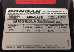 Dongan Interchangeable Ignition Transformer A06-SA6X