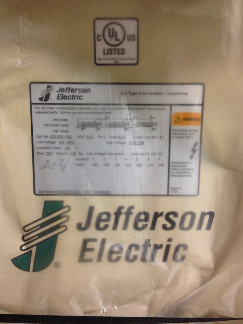 Jefferson Electric Dry Type Drive Isolation Transformer 51 KVA  423-E001-092 - Transformers - Metal Logics, Inc. - 3