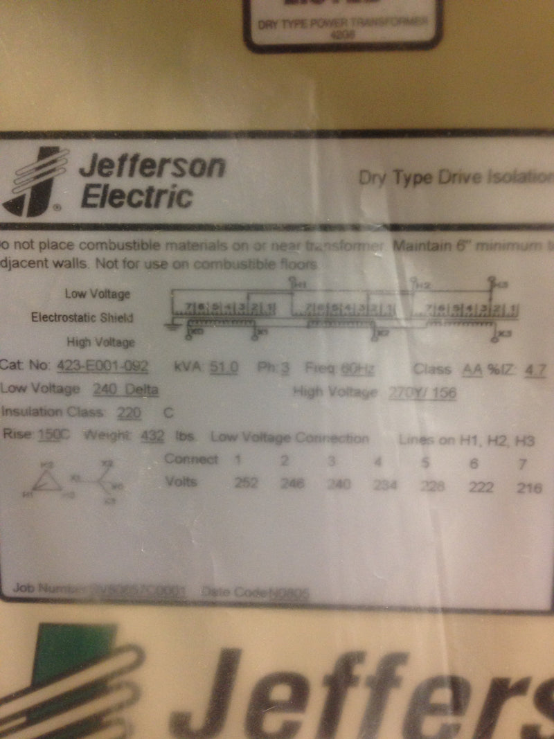 Jefferson Electric Dry Type Drive Isolation Transformer 51 KVA  423-E001-092 - Transformers - Metal Logics, Inc. - 4
