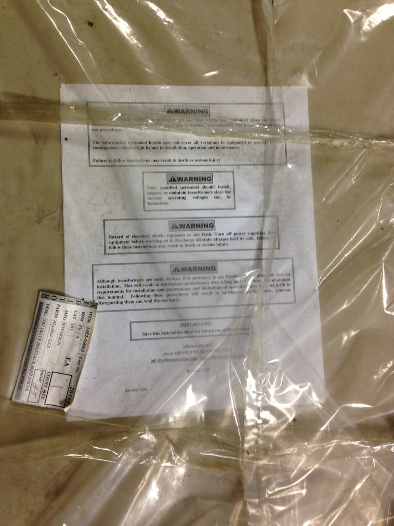 Jefferson Electric Dry Type Drive Isolation Transformer KVA 85 423-E001-370 - Transformers - Metal Logics, Inc. - 5