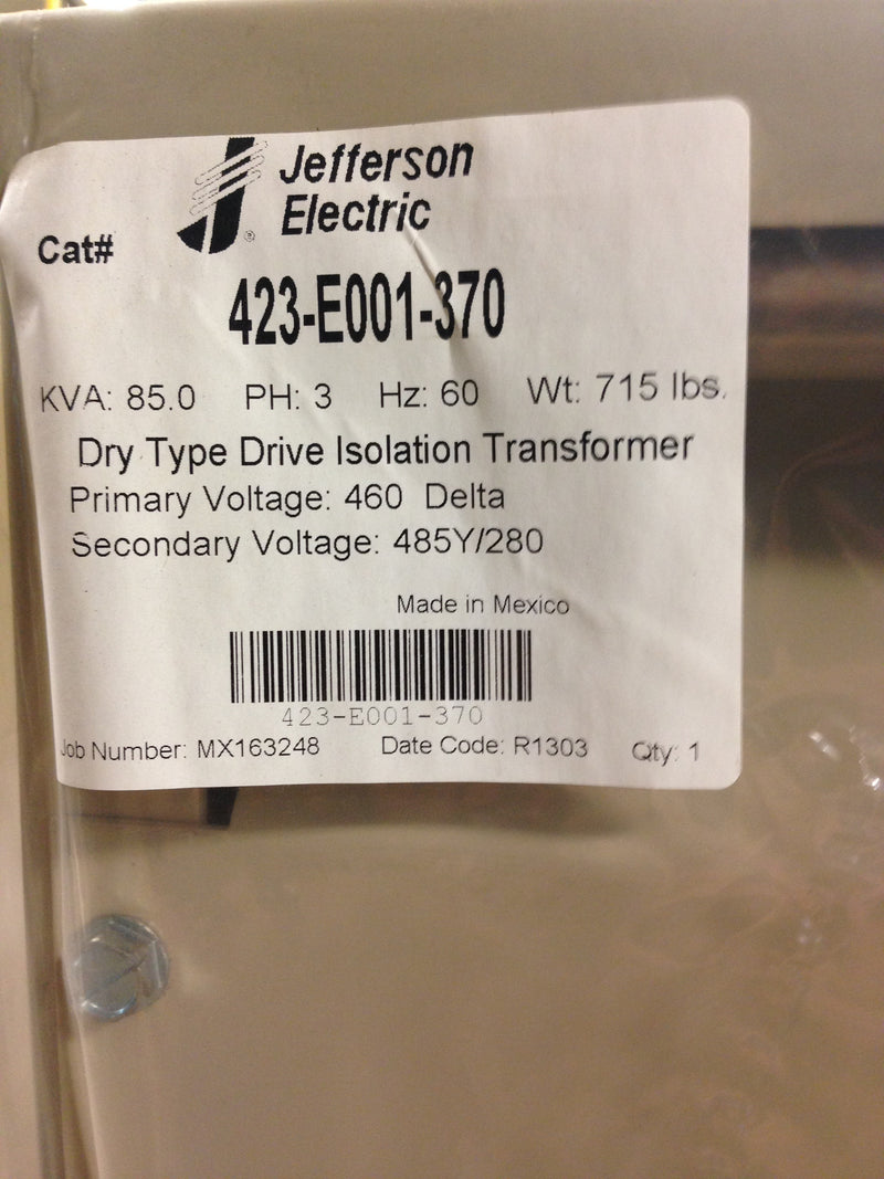 Jefferson Electric Dry Type Drive Isolation Transformer KVA 85 423-E001-370 - Transformers - Metal Logics, Inc. - 7