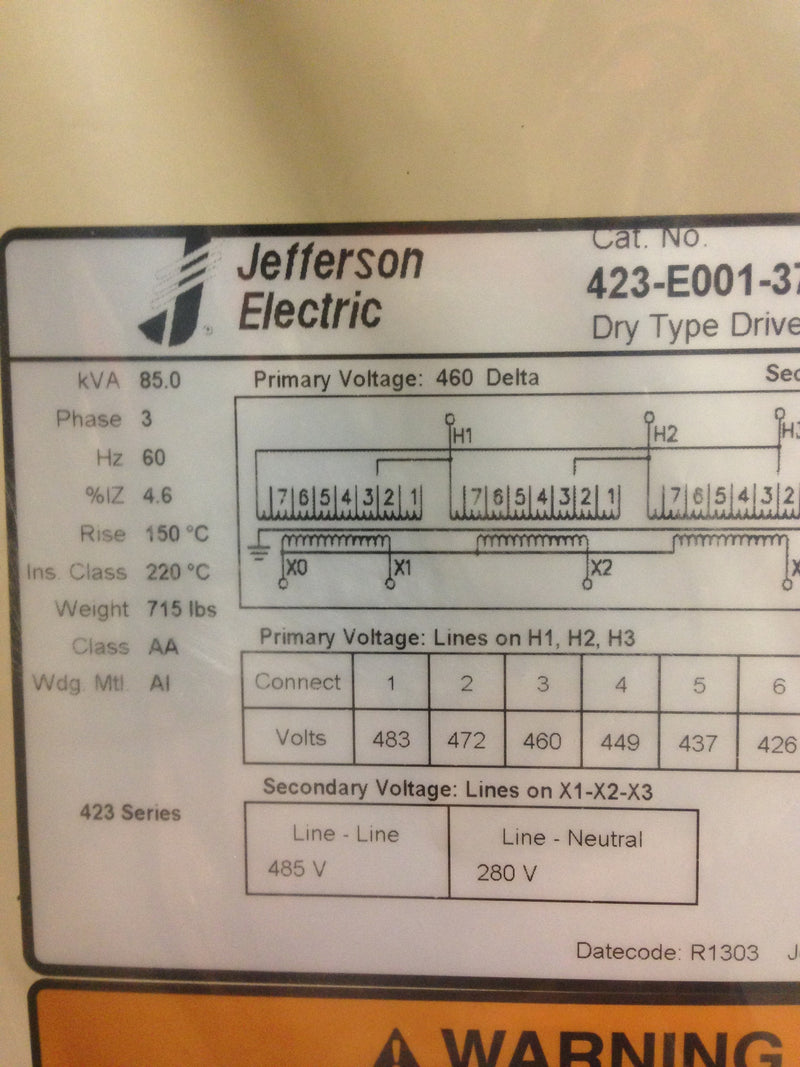 Jefferson Electric Dry Type Drive Isolation Transformer KVA 85 423-E001-370 - Transformers - Metal Logics, Inc. - 11