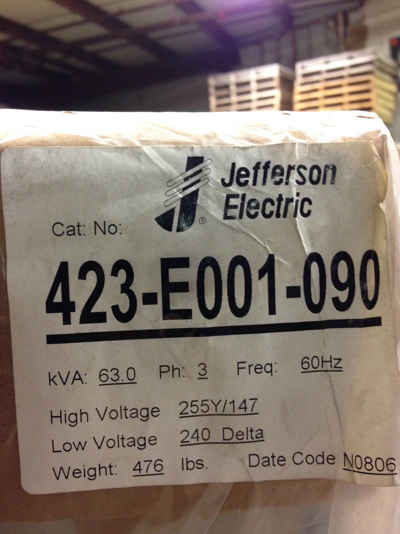 Jefferson Electric Dry Type Drive Isolation Transformer 423-E001-090 KVA 63 - Transformers - Metal Logics, Inc. - 4