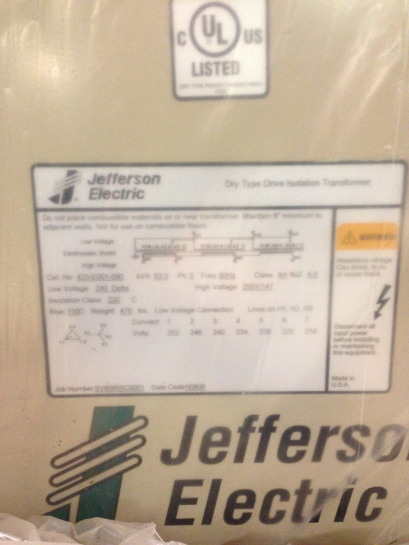Jefferson Electric Dry Type Drive Isolation Transformer 423-E001-090 KVA 63 - Transformers - Metal Logics, Inc. - 8