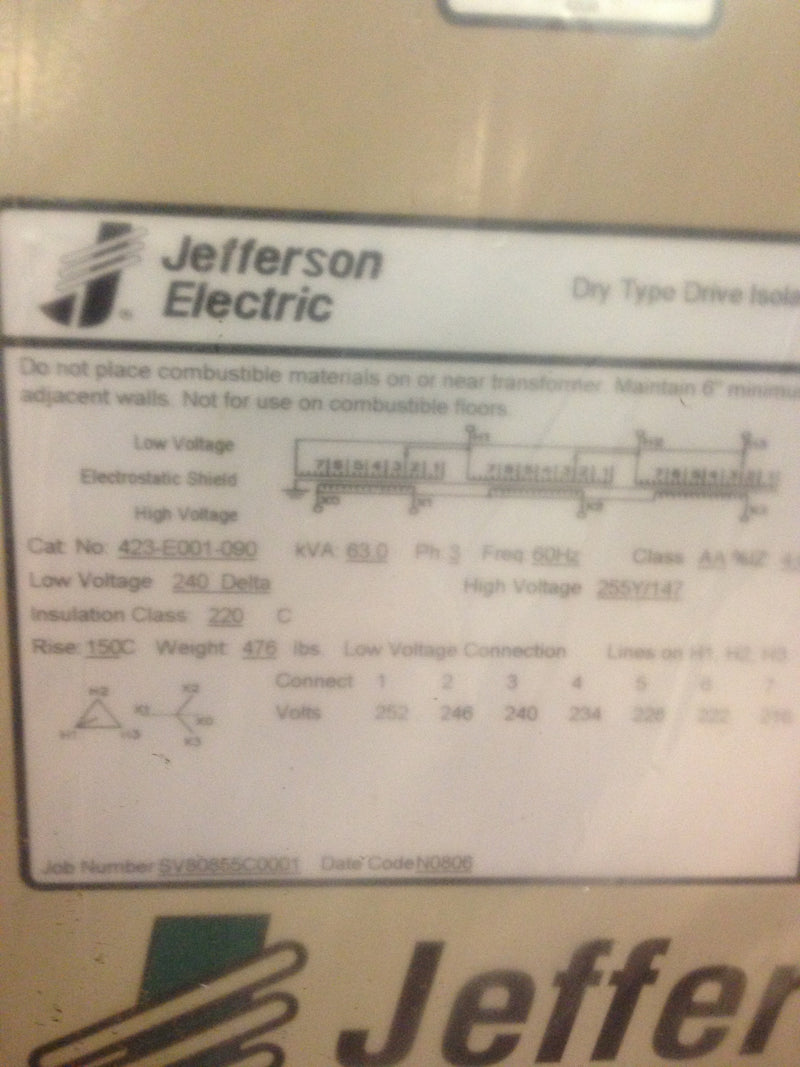 Jefferson Electric Dry Type Drive Isolation Transformer 423-E001-090 KVA 63 - Transformers - Metal Logics, Inc. - 9