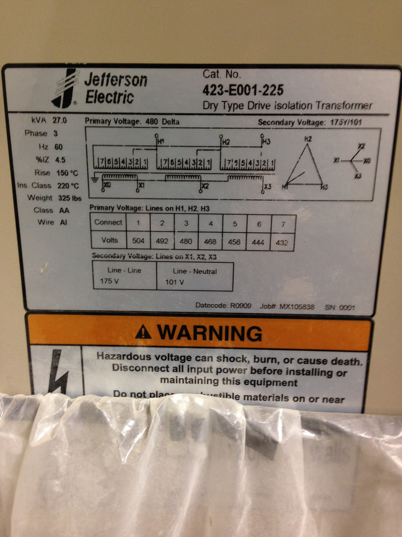 Jefferson Electric Dry Type Drive Isolation Transformer	 423-E001-225 KVA 27 - Transformers - Metal Logics, Inc. - 6
