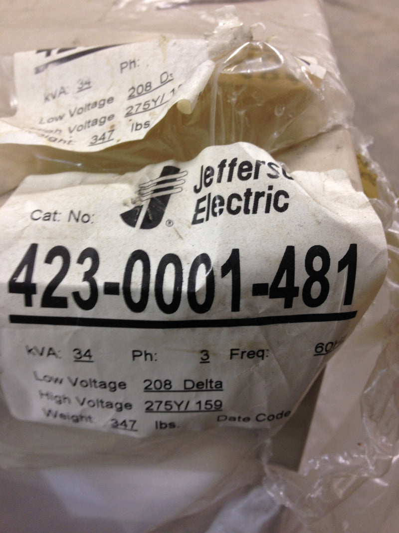 Jefferson Electric Dry Type Drive Isolation Transformer  423-0001-481 KVA 34 - Transformers - Metal Logics, Inc. - 2