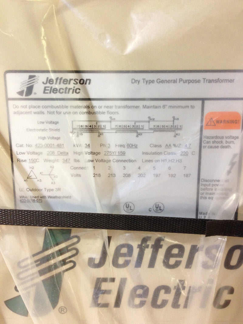 Jefferson Electric Dry Type Drive Isolation Transformer  423-0001-481 KVA 34 - Transformers - Metal Logics, Inc. - 6