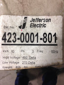 Jefferson Electric Dry Type Drive Isolation Transformer 423-0001-801 KVA 45 - Transformers - Metal Logics, Inc. - 2