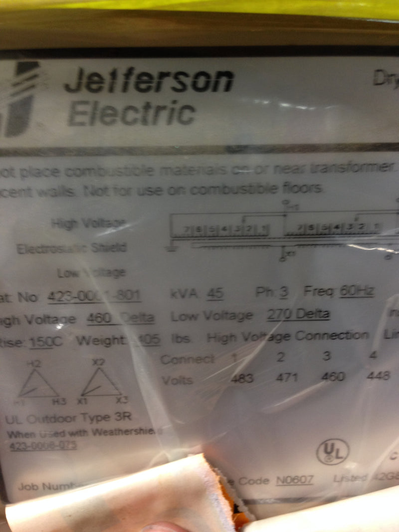 Jefferson Electric Dry Type Drive Isolation Transformer 423-0001-801 KVA 45 - Transformers - Metal Logics, Inc. - 4