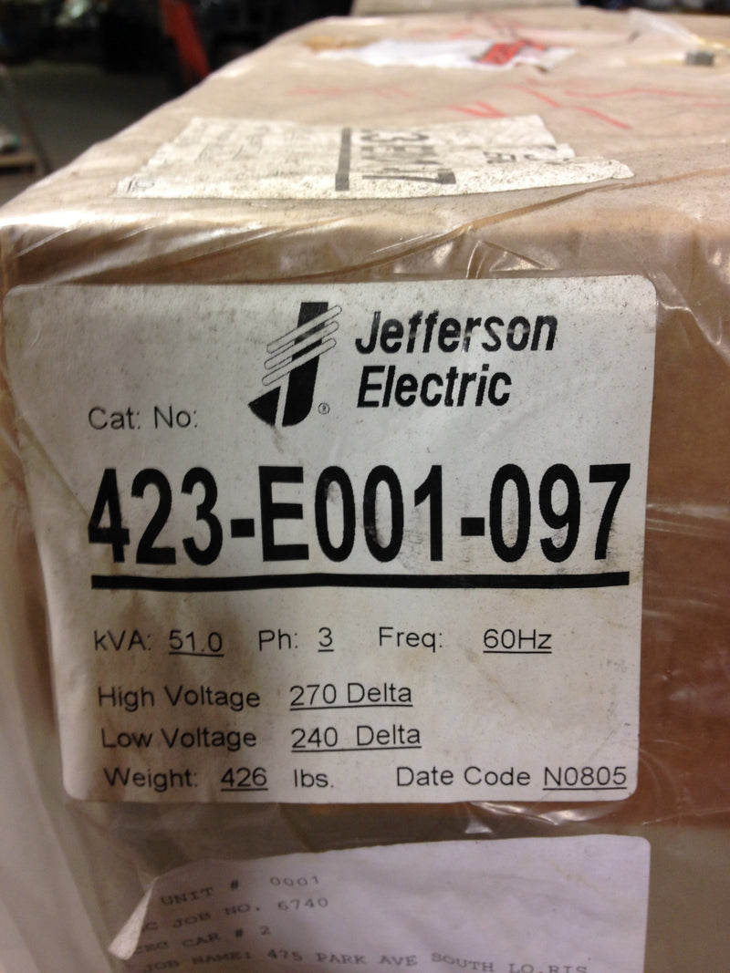 Jefferson Electric Dry Type Drive Isolation Transformer	 423-E001-097 KVA 51 - Transformers - Metal Logics, Inc. - 7