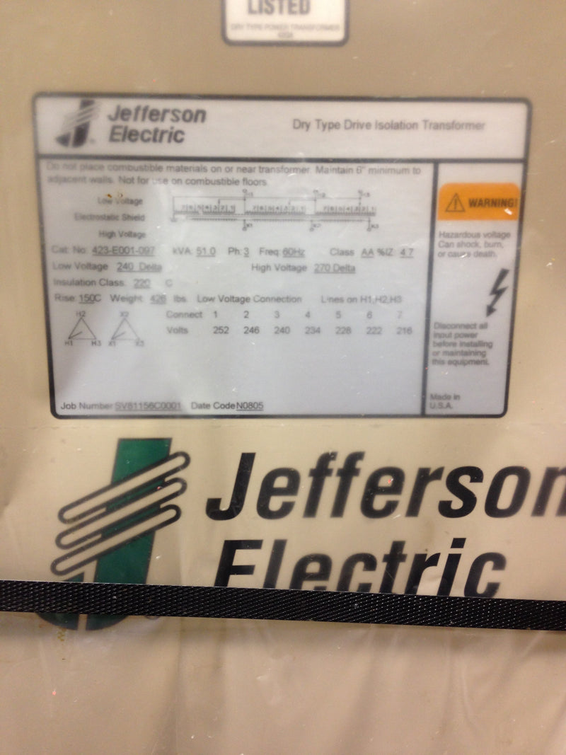 Jefferson Electric Dry Type Drive Isolation Transformer	 423-E001-097 KVA 51 - Transformers - Metal Logics, Inc. - 3