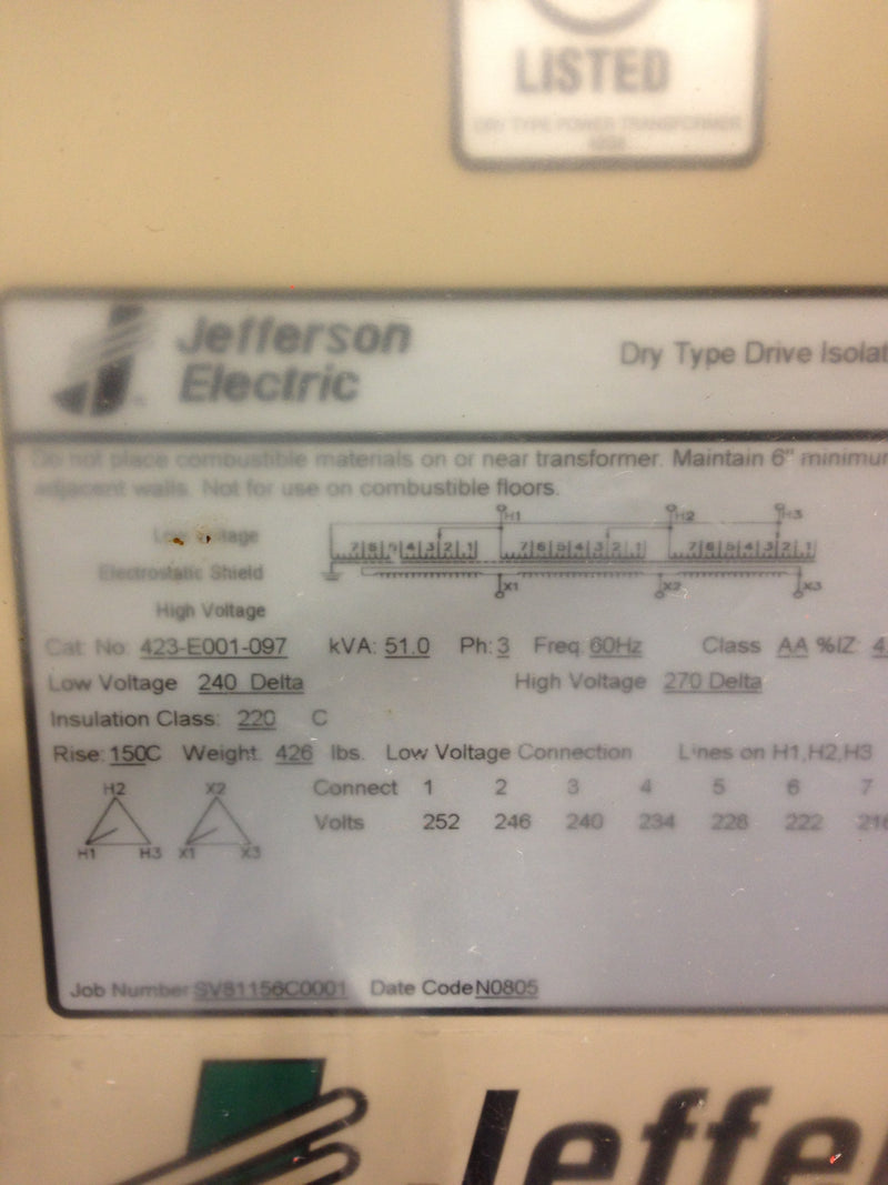 Jefferson Electric Dry Type Drive Isolation Transformer	 423-E001-097 KVA 51 - Transformers - Metal Logics, Inc. - 6