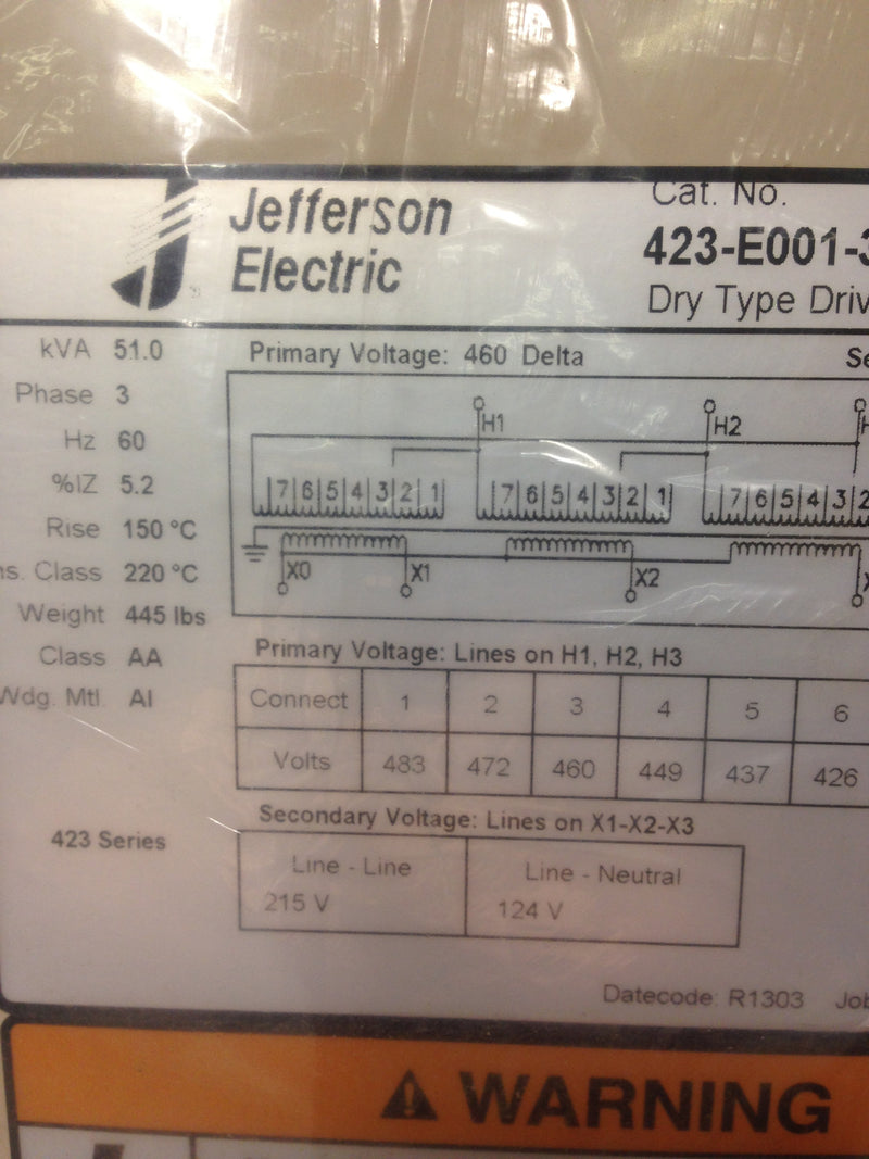 Jefferson Electric Dry Type Drive Isolation Transformer 423-E001-372 KVA 51 - Transformers - Metal Logics, Inc. - 7