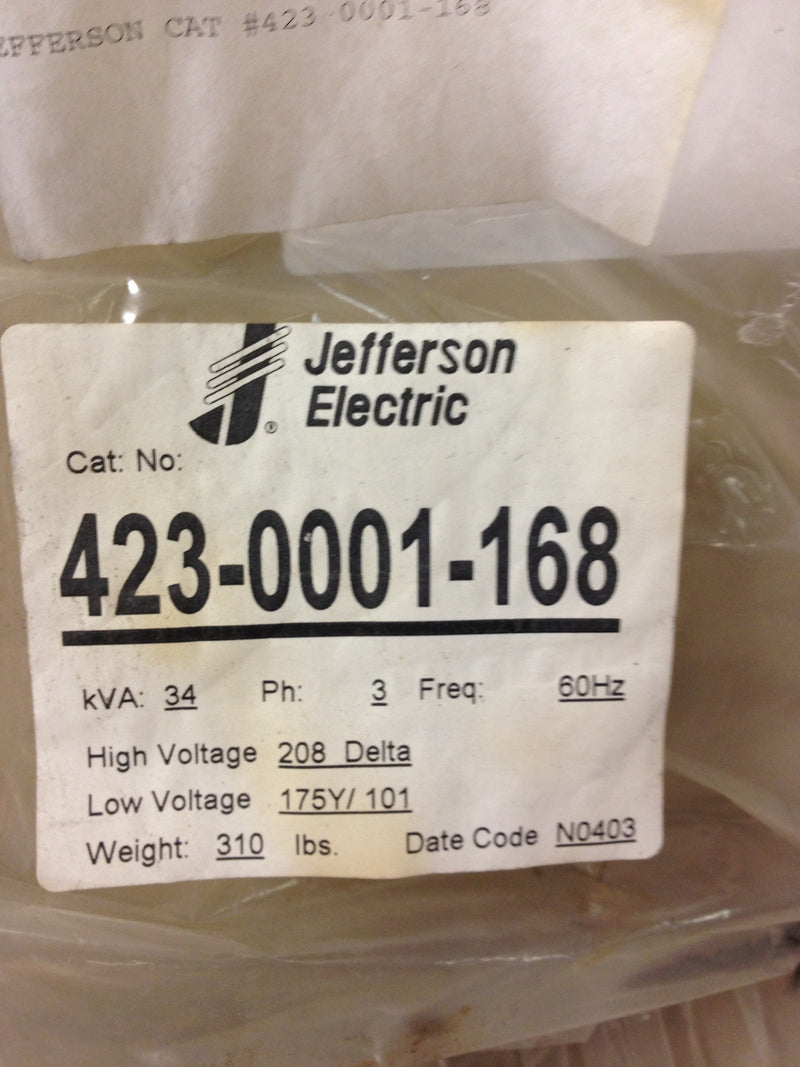 Jefferson Electric Dry Type Drive Isolation Transformer 423-0001-168 KVA 34 - Transformers - Metal Logics, Inc. - 4