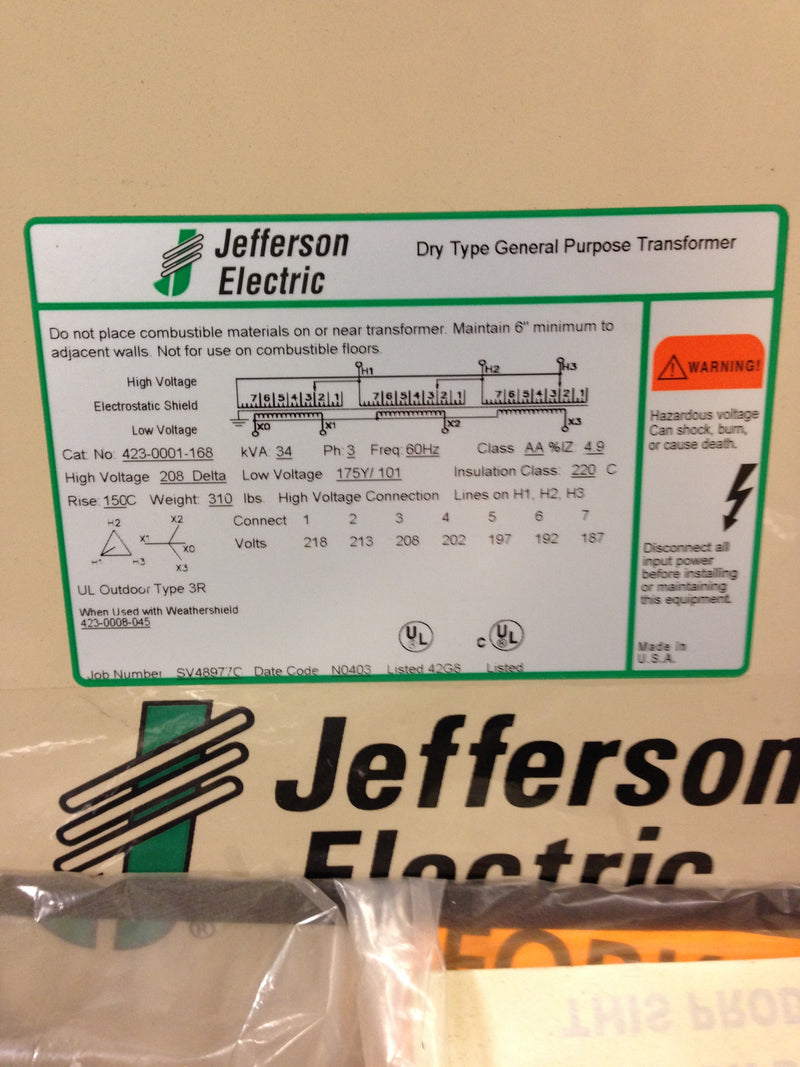 Jefferson Electric Dry Type Drive Isolation Transformer 423-0001-168 KVA 34 - Transformers - Metal Logics, Inc. - 7