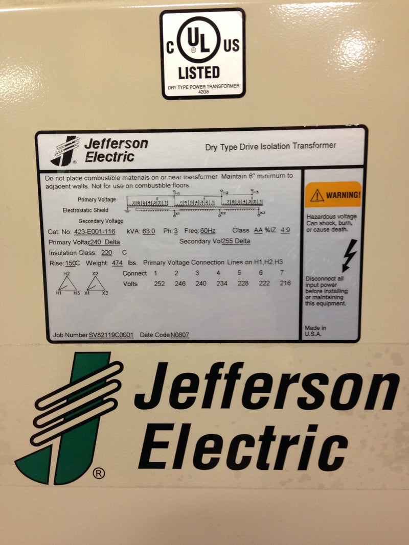 Jefferson Electric Dry Type Drive Isolation Transformer 423-E001-116 KVA 63 - Transformers - Metal Logics, Inc. - 6