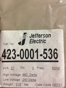Jefferson Electric Dry Type Drive Isolation Transformer 423-0001-536 KVA 27 - Transformers - Metal Logics, Inc. - 2
