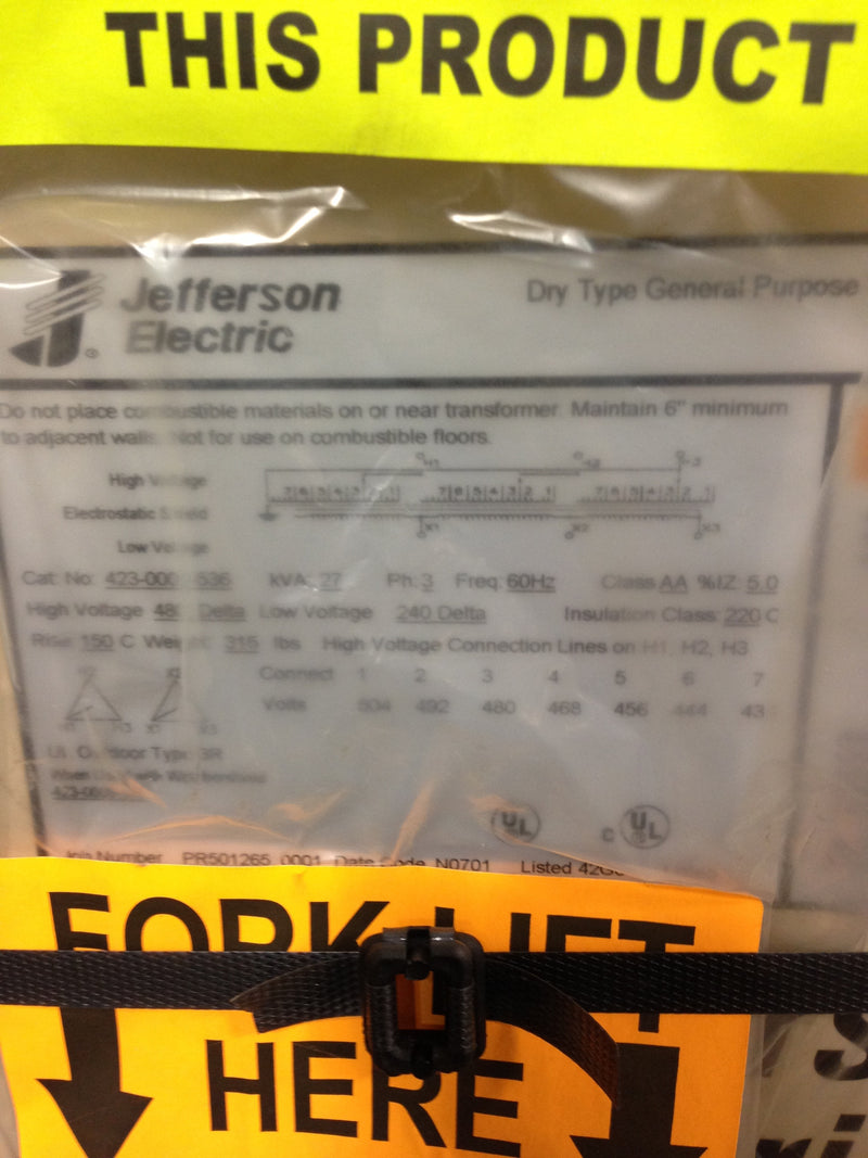 Jefferson Electric Dry Type Drive Isolation Transformer 423-0001-536 KVA 27
