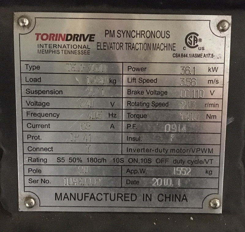 Torin Drive Elevator Traction Machine Type TGL1-3570 - Motors - Metal Logics, Inc. - 2