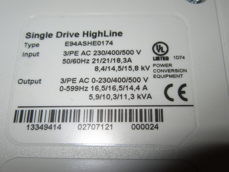 Lenze Single Drive HighLine L-Force Model E94ASHE0174 - Electronics - Metal Logics, Inc. - 1
