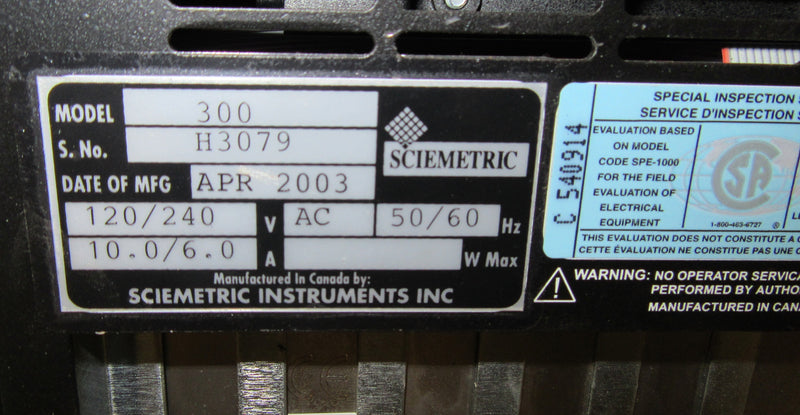 Sciemetric Test and Analysis System Model 320-8 - Electronics - Metal Logics, Inc. - 2