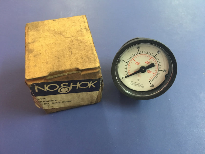 No Shok Gauge 100 PSI/KPA - Accessories - Metal Logics, Inc. - 1