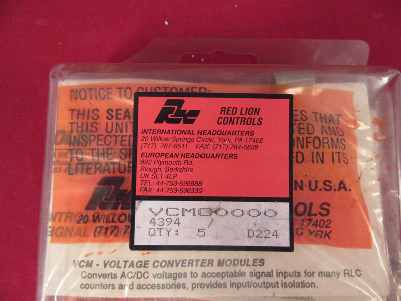 Lot of 5 Red Lion Controls Voltage Converter Modules Model VCMC0000 - Electrical Equipment - Metal Logics, Inc. - 1