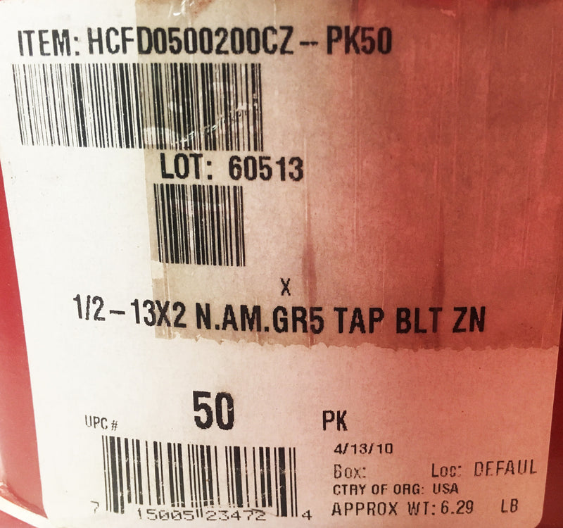 Hodell-Natco 1/2 - 13x2 N.AM. GR5 Tap Bolt Box of 50 - Hardware - Metal Logics, Inc. - 3