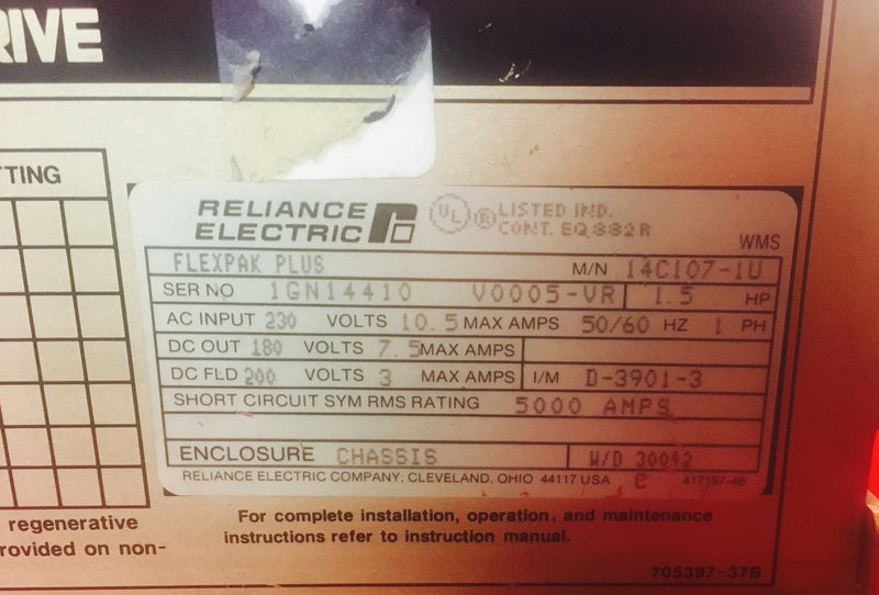 Reliance Electric Flexpak 14C107-1U - Electronics - Metal Logics, Inc. - 2