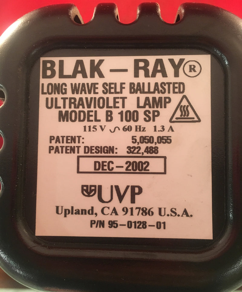 Blak-Ray Ultraviolet Lamp Model B 100 SP - Lights - Metal Logics, Inc. - 3