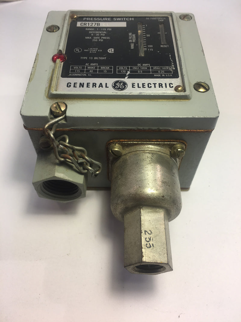 General Electric Pressure Switch Model CR127B 1-115 PSI