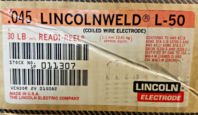 ".045"" Lincolnweld L-50 Lincoln Electric Welding Wire Electrode 30 lb. Readi-Reel Spool"