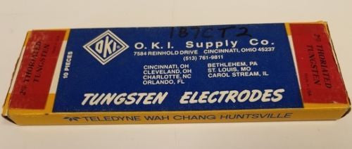 O.K.I. Supply Co. 2% Thoriated Tungsten Electrodes 1/8 Diameter 10 Pieces - Accessories - Metal Logics, Inc. - 1