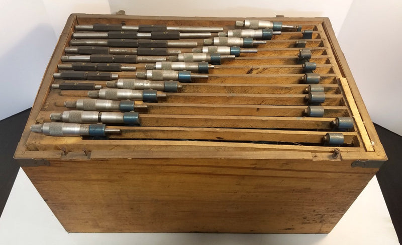 "0"" - 12"" Micrometer Set .0001"" in Wooden Chest - No Lid"