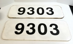 Set of 2 Double-Sided Vintage Train Railroad Number Signs 7029/9303 Locomotive