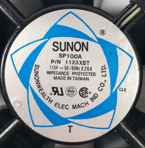 Sunon Cooling Fan SP100A P/N 1123XBT 115V Impedance Protected