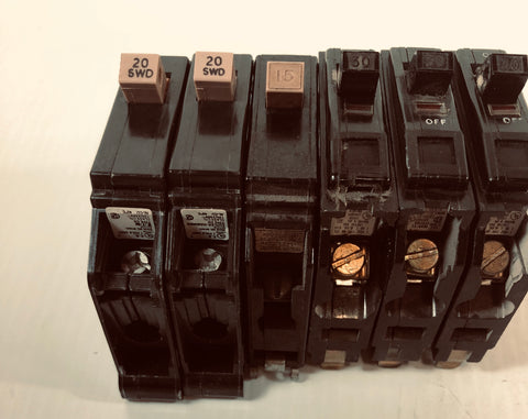 Eaton and Square D One Pole Circuit Breakers 15 Amp 20 Amp 30 Amp (Lot of 6)