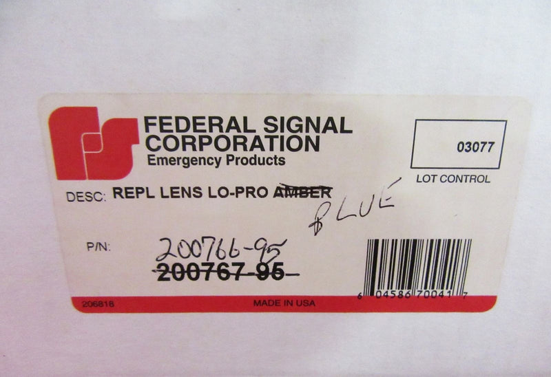 Federal Signal Replacement Lens Lo-Pro Blue Model 200766-95