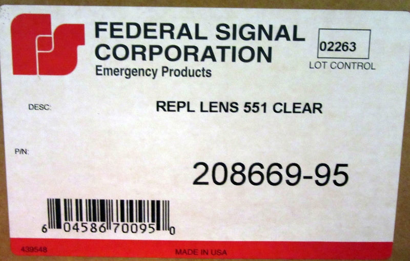 Federal Signal Replacement Lens Clear Model 208669-95